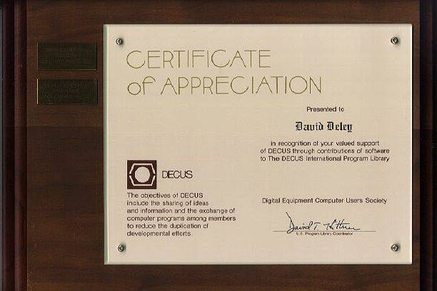 David W. Deley Decus Appreciation Plaque